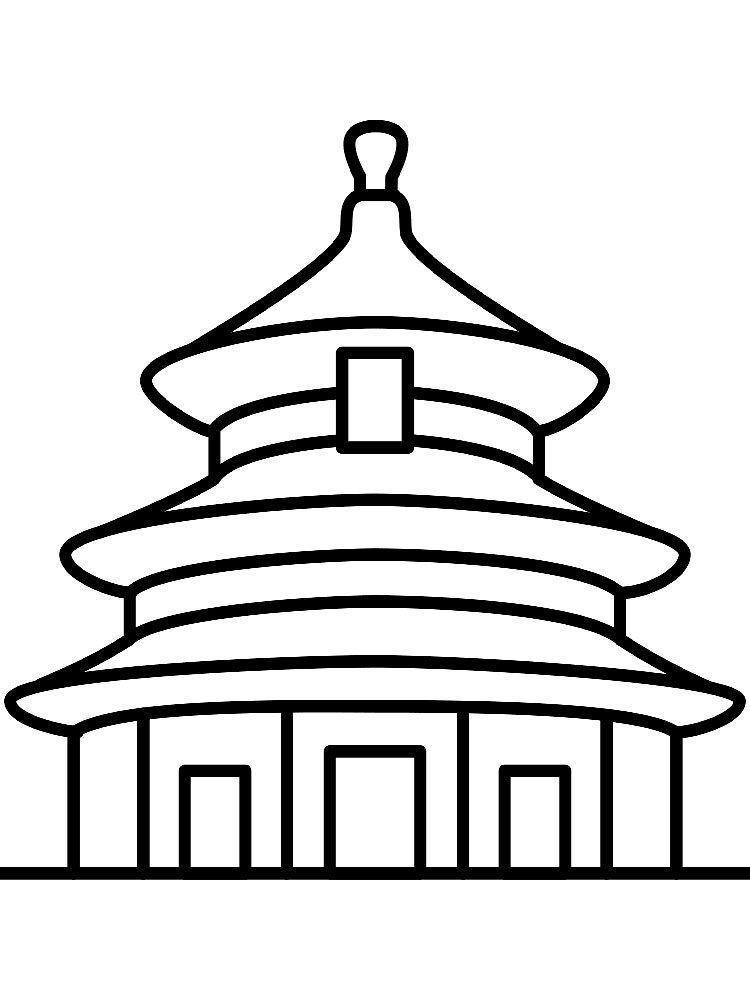 Easy Asian Architcture Coloring Pages