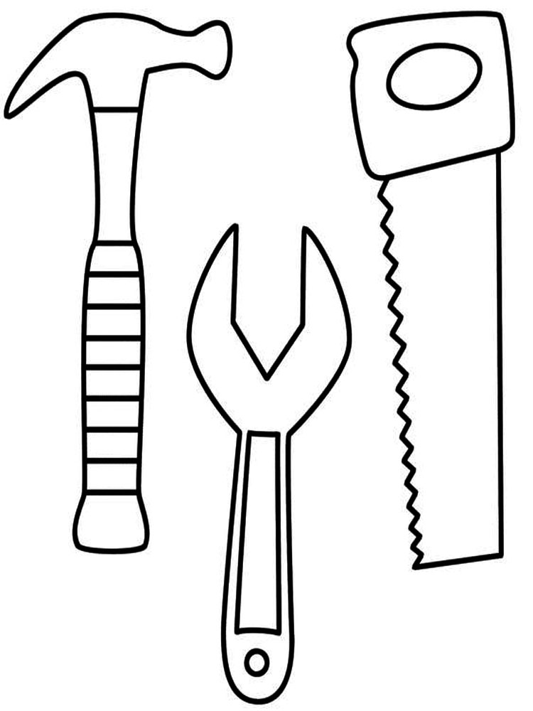 Easy Constrution Tools Coloring Page