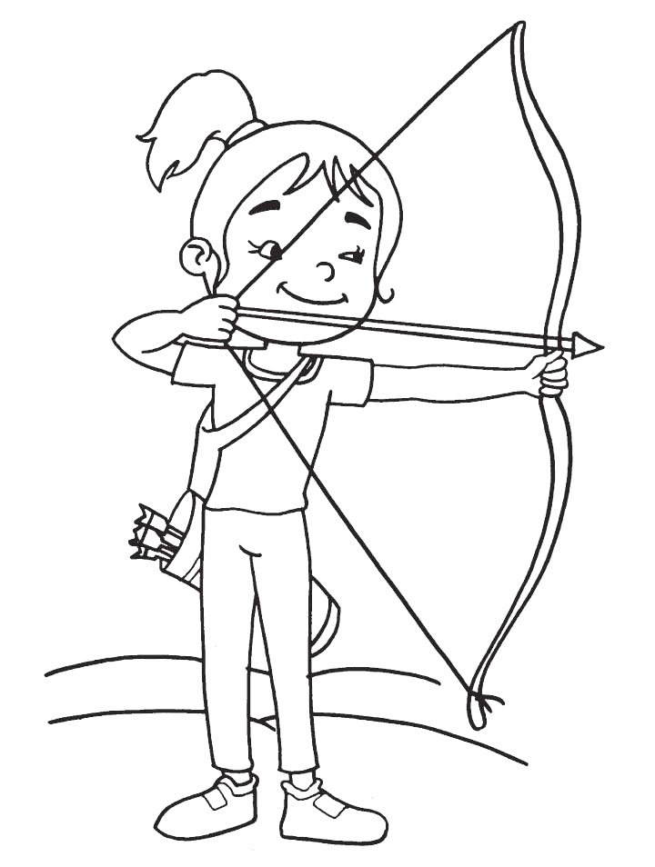 Girl Archer Shooting Arrow Coloring Page