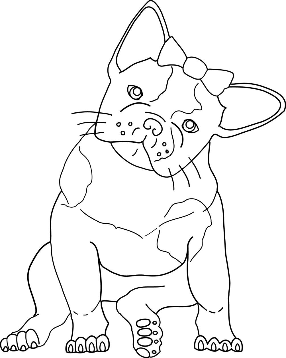 Girl French Bulldog Coloring Page