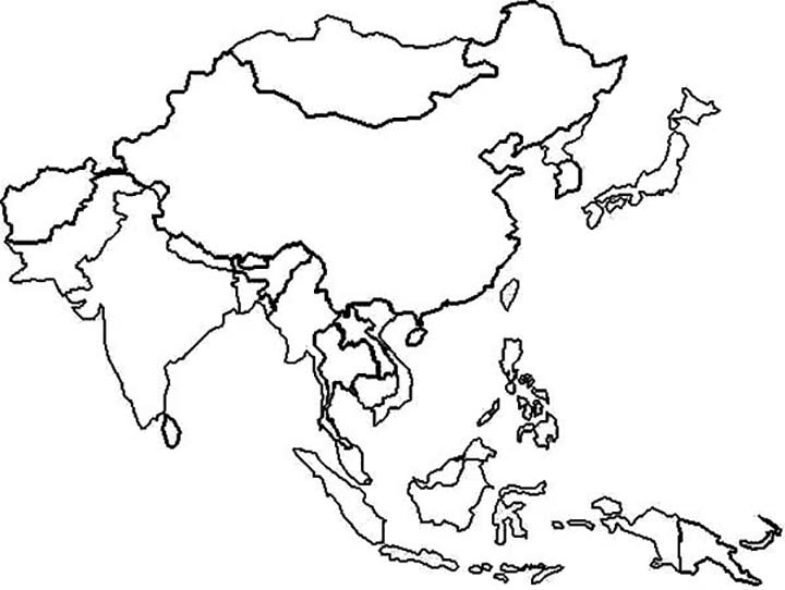 Map Of Asia Coloring Page