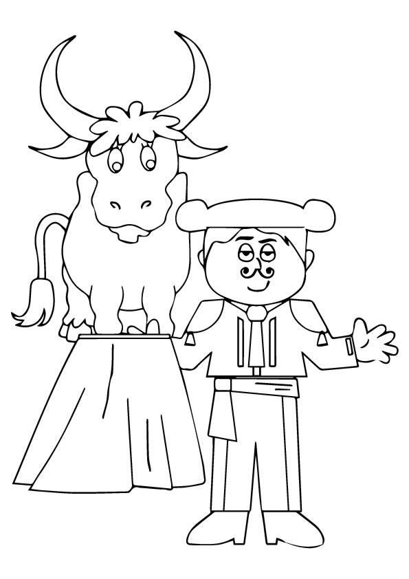 Matador And Bull Coloring Page