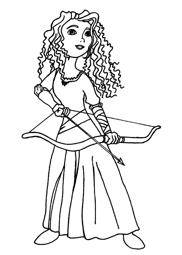 Merida With Her Bow And Arrow Coloring Page