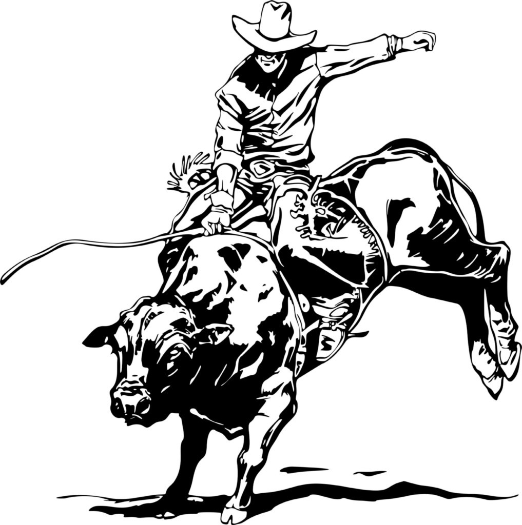 Riding A Bull Coloring Page