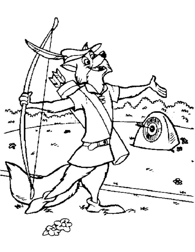 Robinhood Cartoon Target Practice Coloring Page