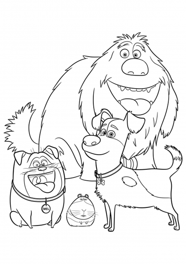 Secret Life Of Pets Dog Character Coloring Page