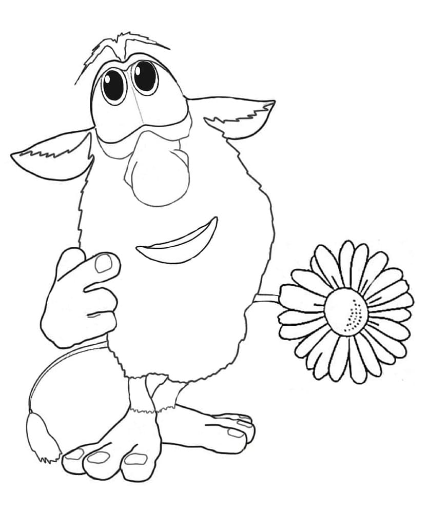 Thoughtful Booba Coloring Page