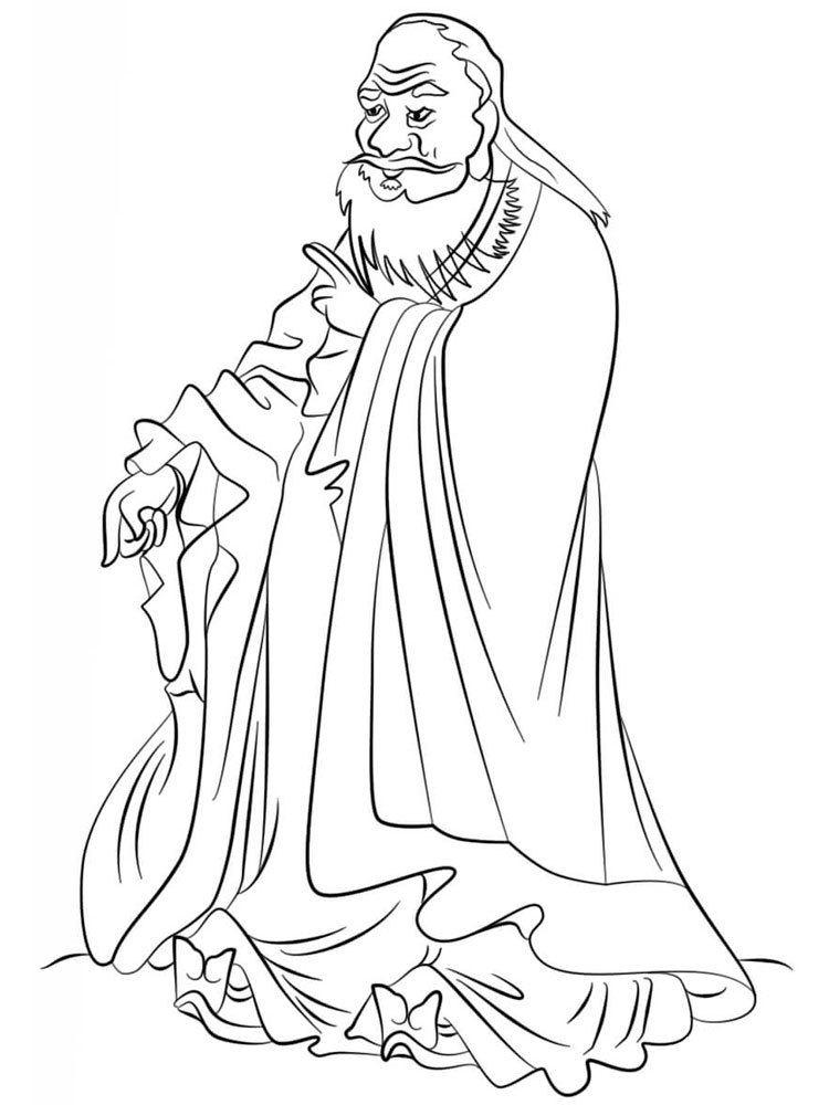 Wise Asian Man Coloring Page
