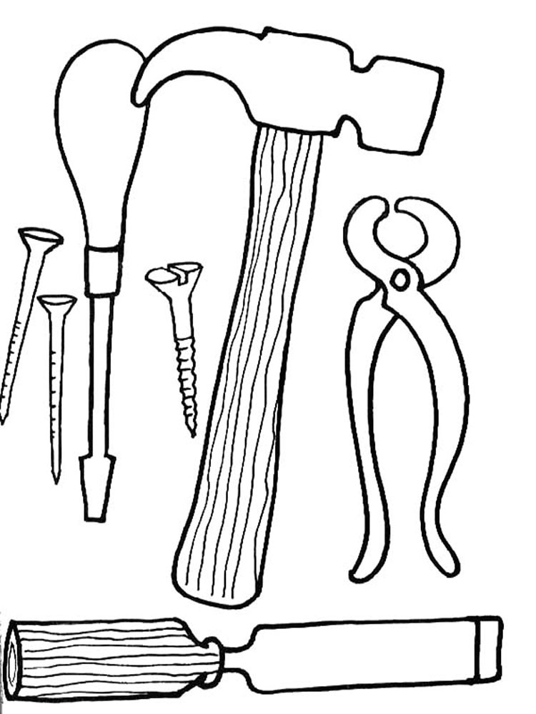 Woodworking Construction Tools Coloring Pages