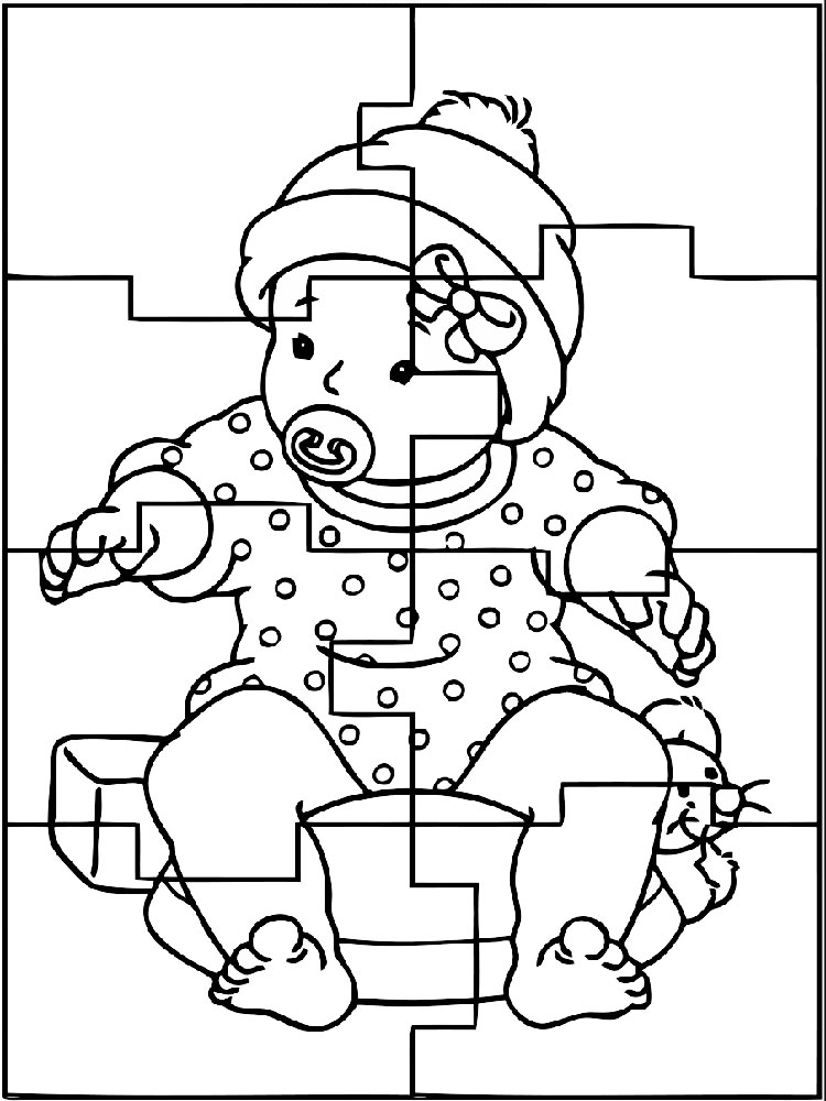 Baby Puzzle Print And Color