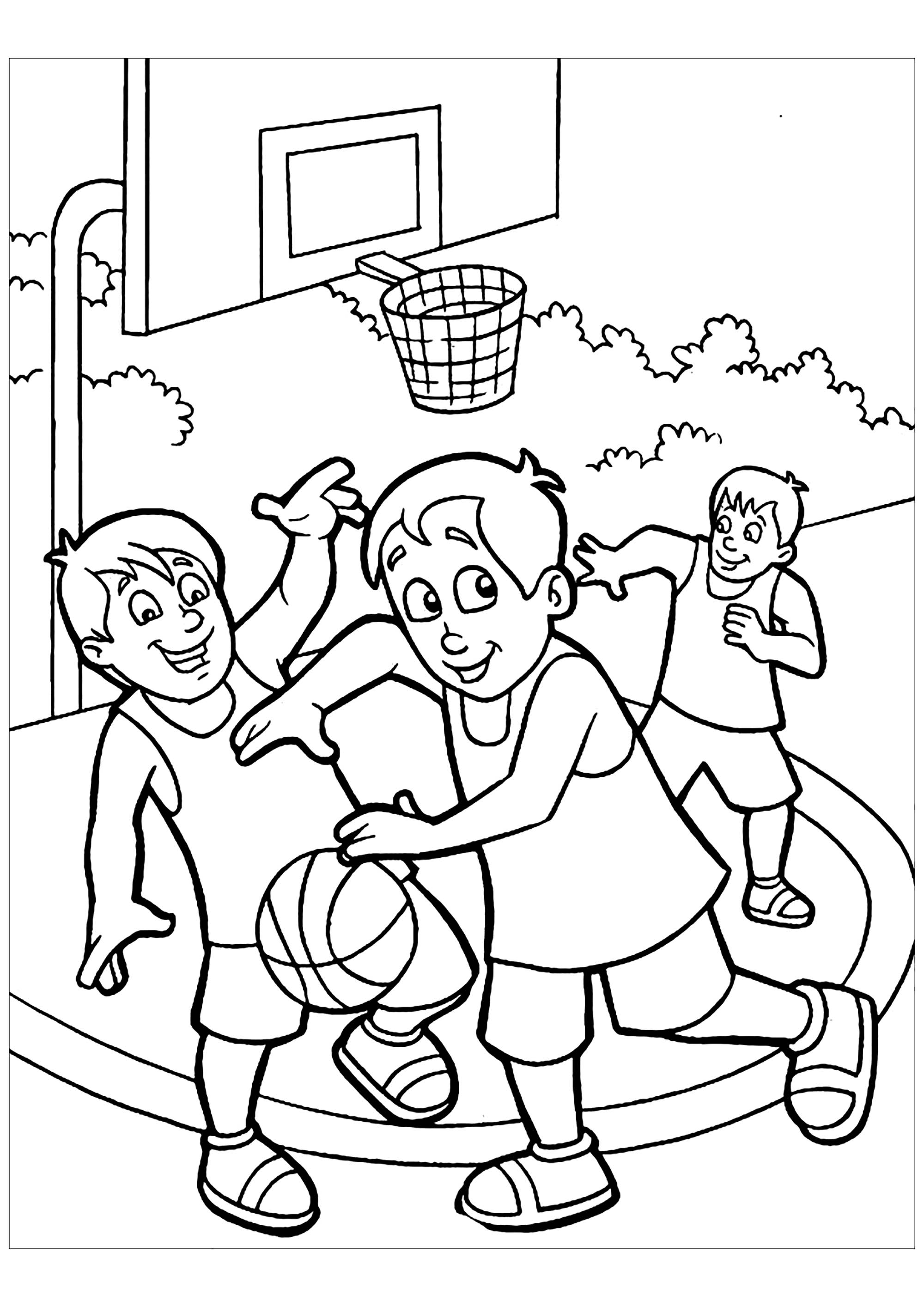 Children Playing Basketball Coloring Page