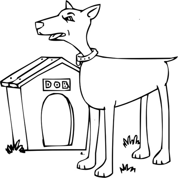 Cute Doberman And Dog House Coloring Page