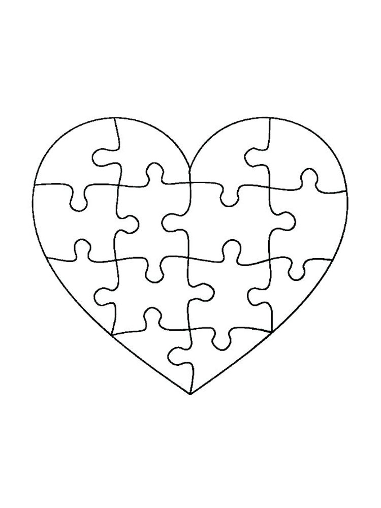 Heart Jigsaw Puzzle Coloring Page